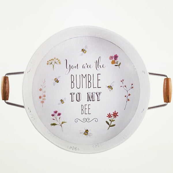 Bee Happy Round Serving Tray with Handles