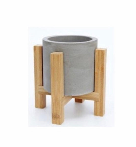 Cement Pot On wood Stand
