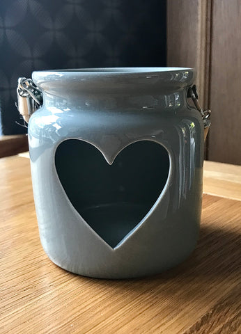 Large Grey porcelain Tea light Lantern