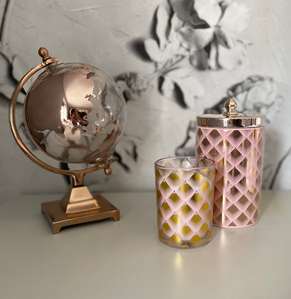 Pink Storage Jar With Gold Fan Design