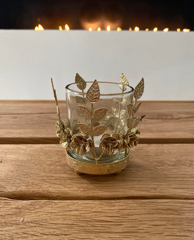 Gold Glitter Flower Tea Light Holder