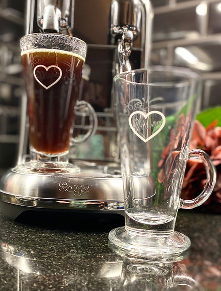 "Latte Glass with ""Mine"""