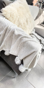 Plush Light Grey Throw