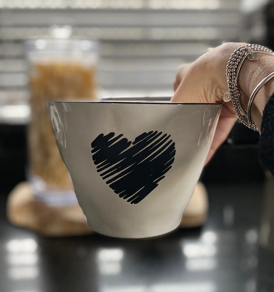 Ceramic Bowl with Black heart