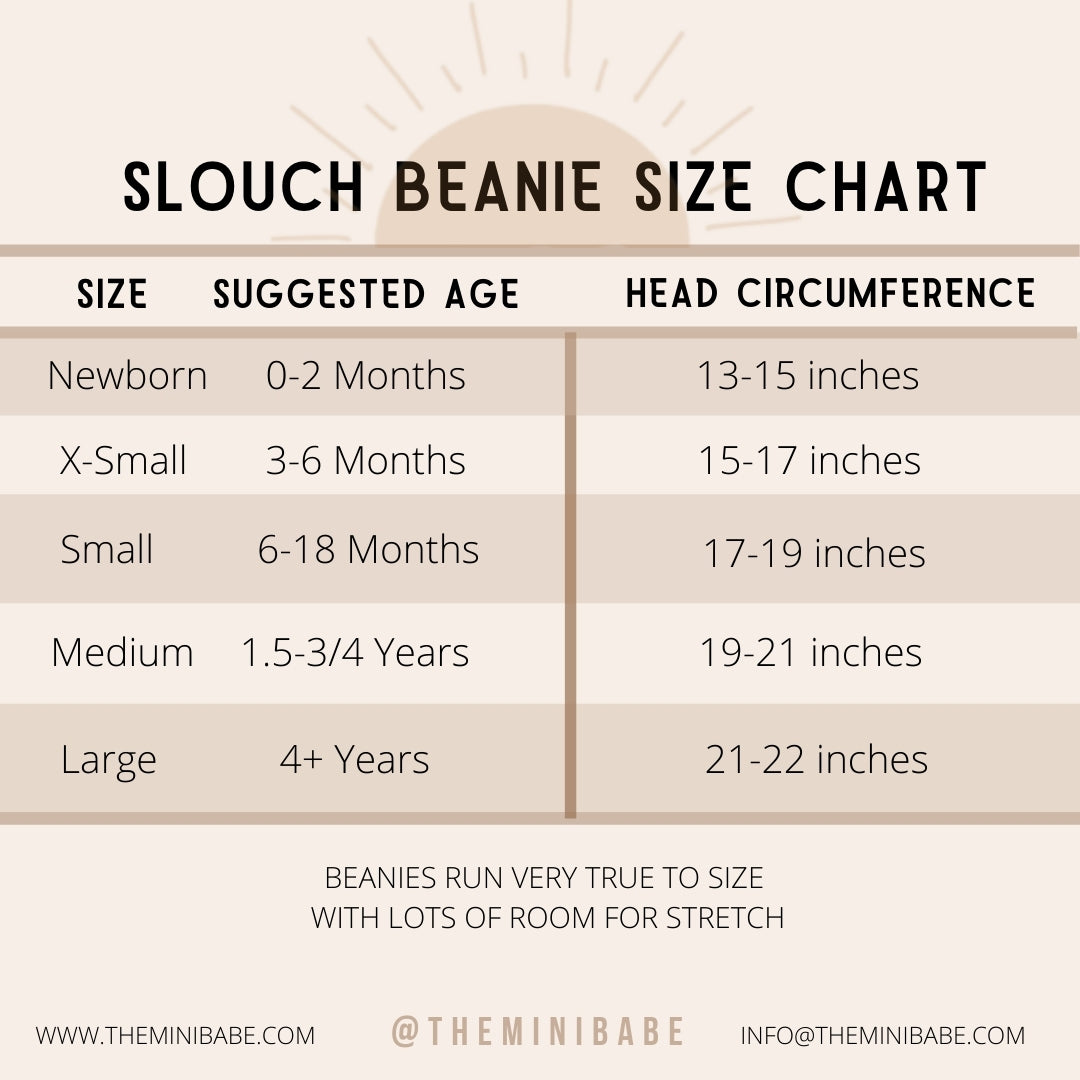 Slouch Beanie Size Chart