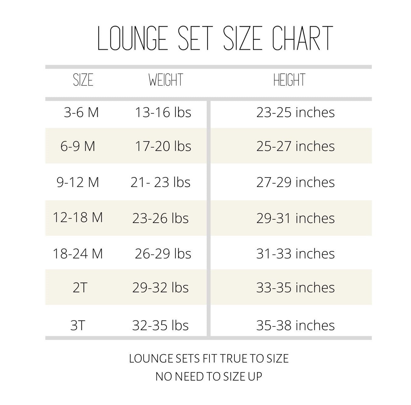 lounge set sizing information