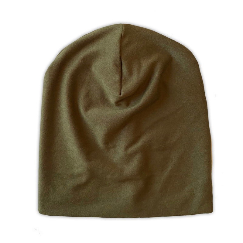 Slouch Beanie in Olive Bamboo Jersey