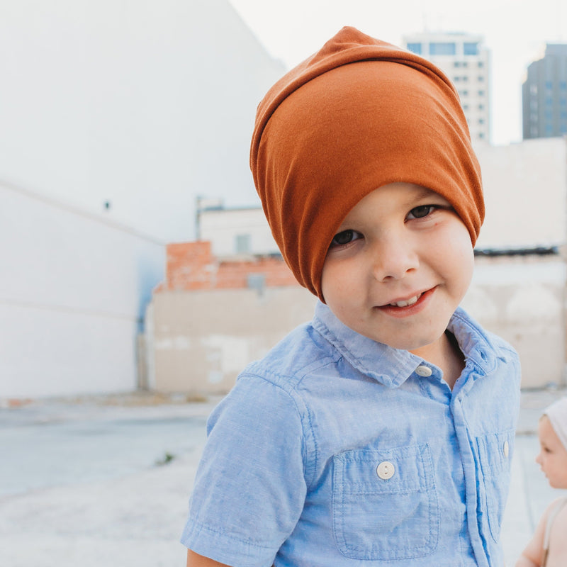 Slouch Beanie in Copper Bamboo Jersey