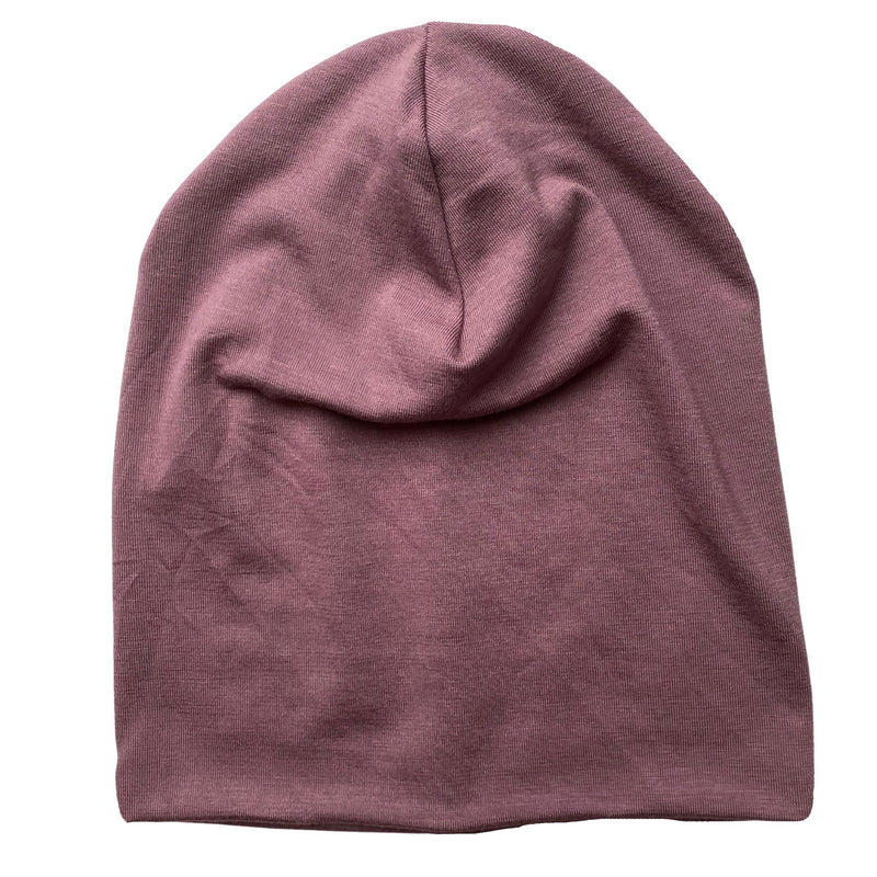 Slouch Beanie in Plum Bamboo Jersey