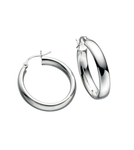 Sterling Silver Oval Tube Round Hoop Earrings