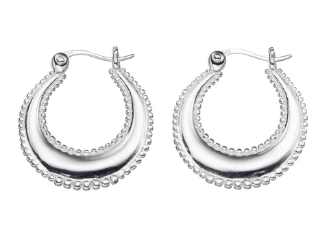 Sterling Silver Creole Hoop Earrings with Beaded Edge