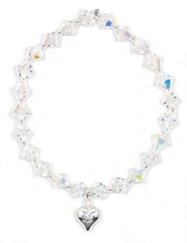 Swarovski Crystal AB bracelet with Sterling Silver Puff Heart Charm