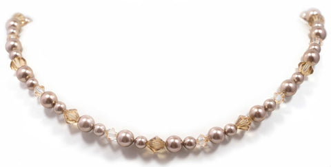 Swarovski Crystal Bronze Pearl Golden Shades Sterling Silver Necklace