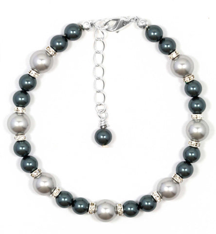 Sterling Silver Swarovski Crystal Light Grey and Tahitian Style Pearl Bracelet