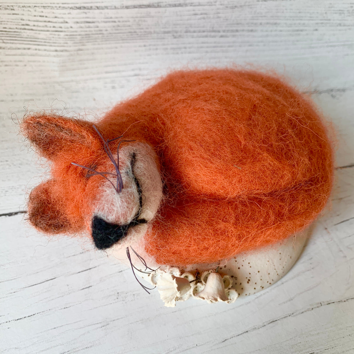 Felted Fox on Ceramic Base