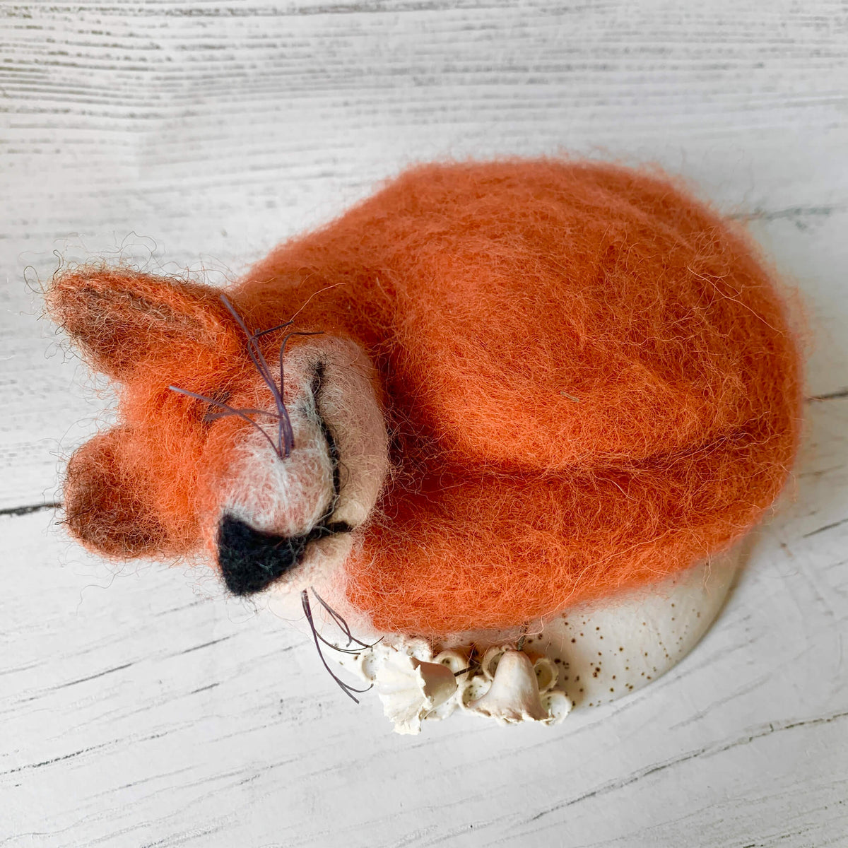 Felted Fox on Ceramic Base by Ferrers Gallery
