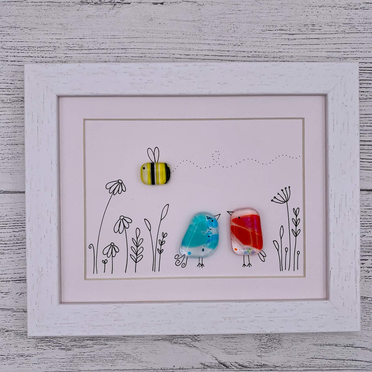 Illustrated and Fused Glass Frame – Four Birds