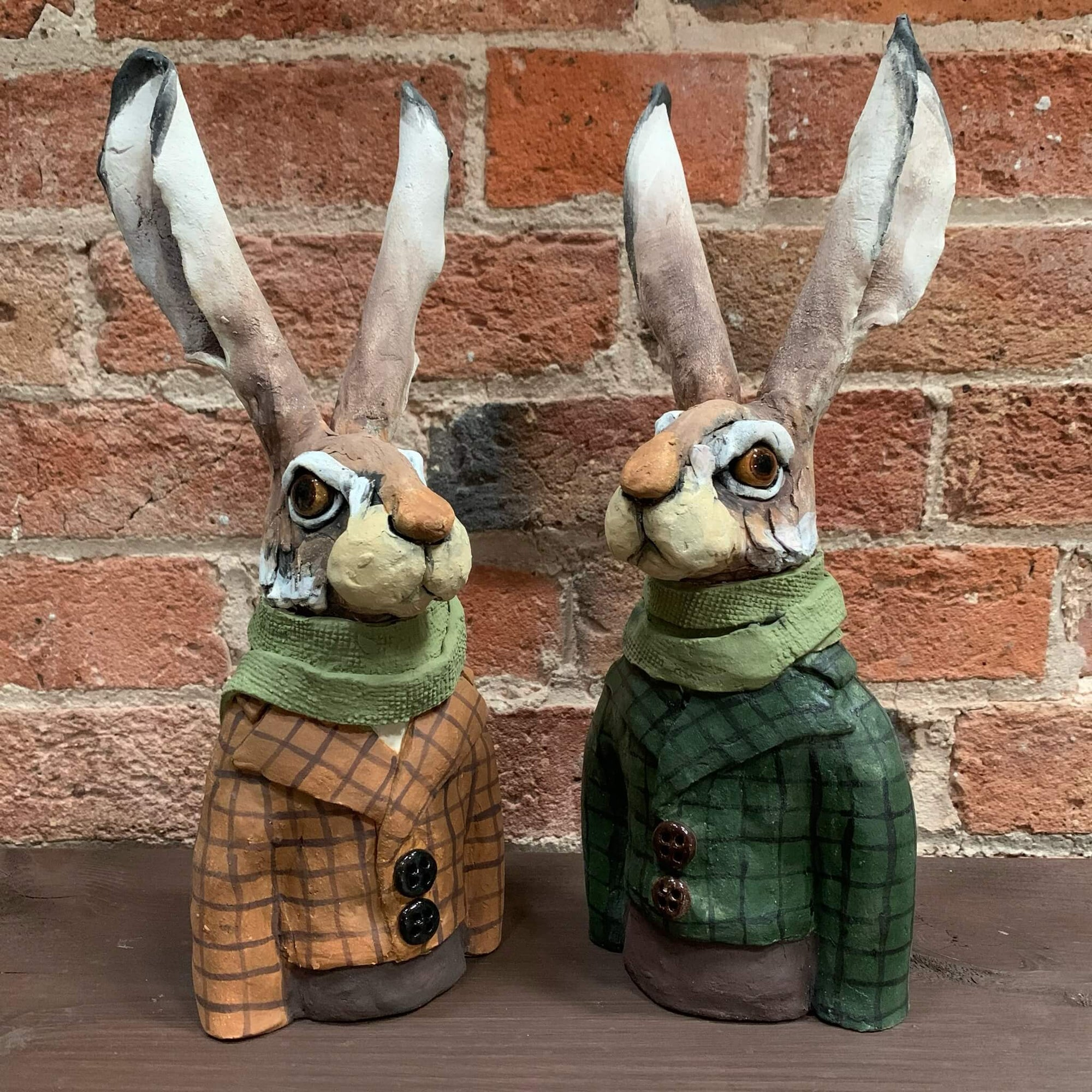 Ceramic Sculpture - Dapper Hares by Louise Brown
