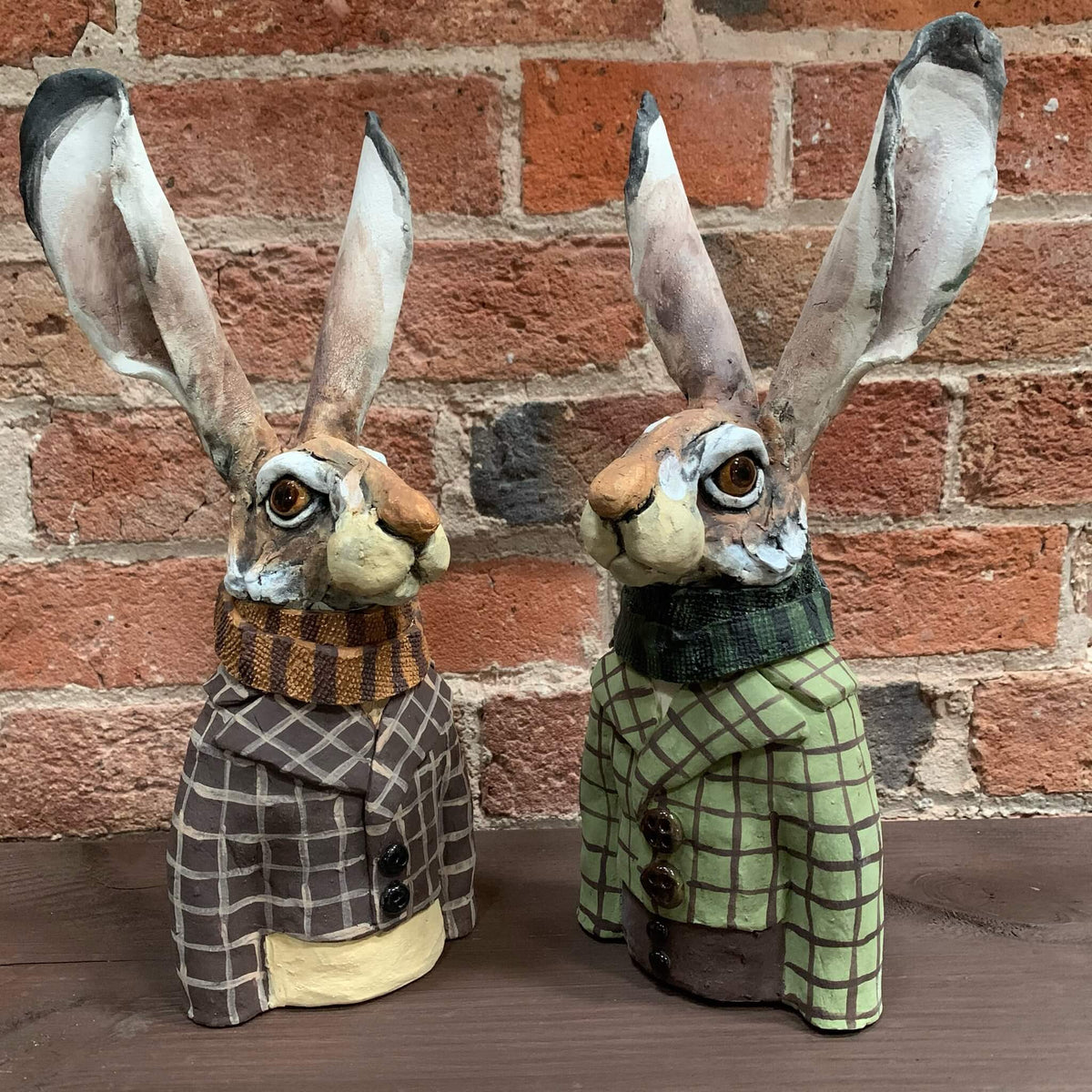 Ceramic Sculpture - Dapper Hares