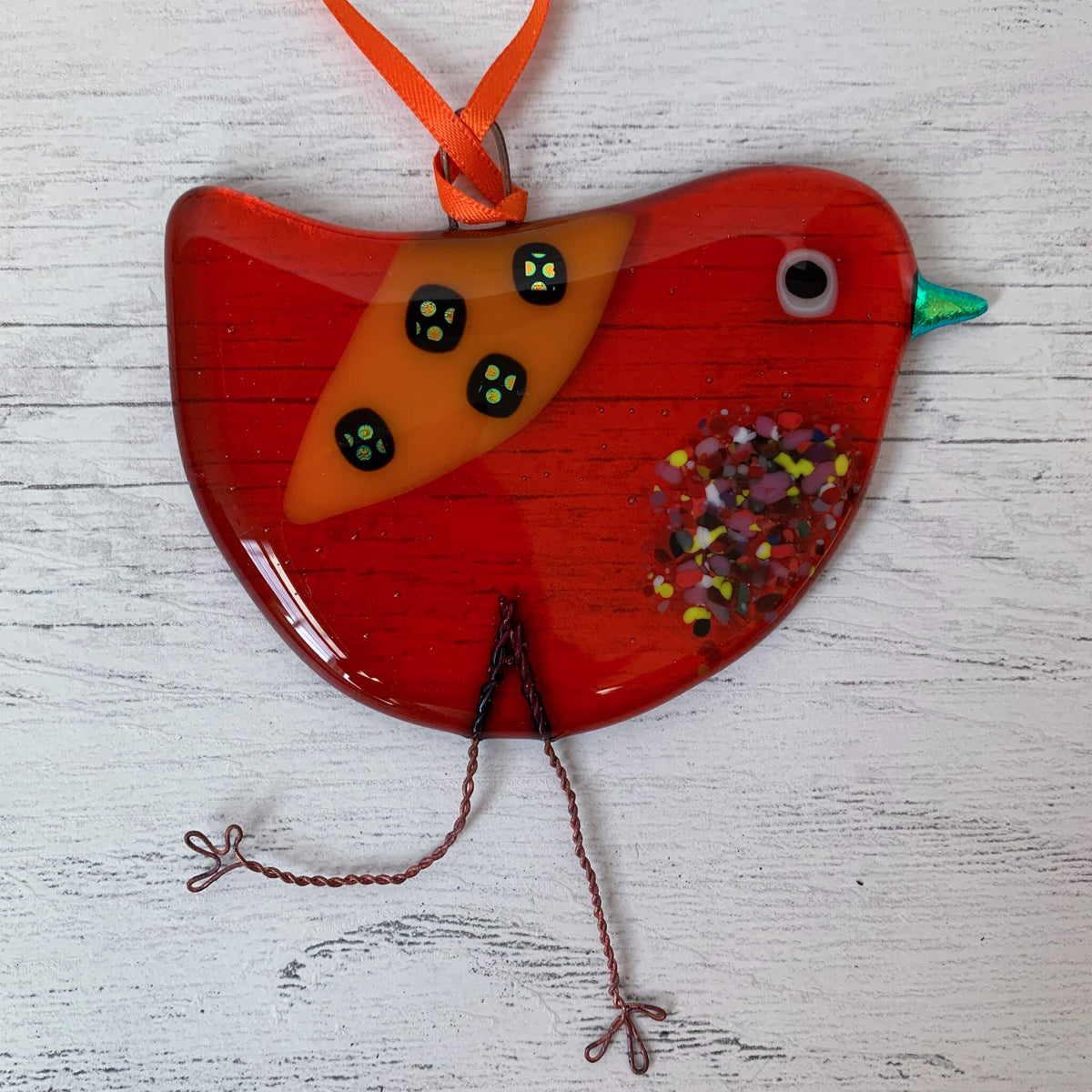 Fused Glass Hanging Bird – Orange Spot by Sarah Myatt