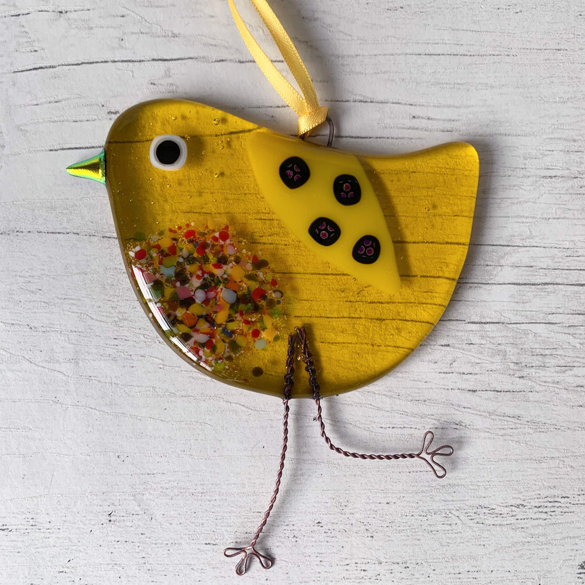 Fused Glass Hanging Bird – Yellow by Sarah Myatt