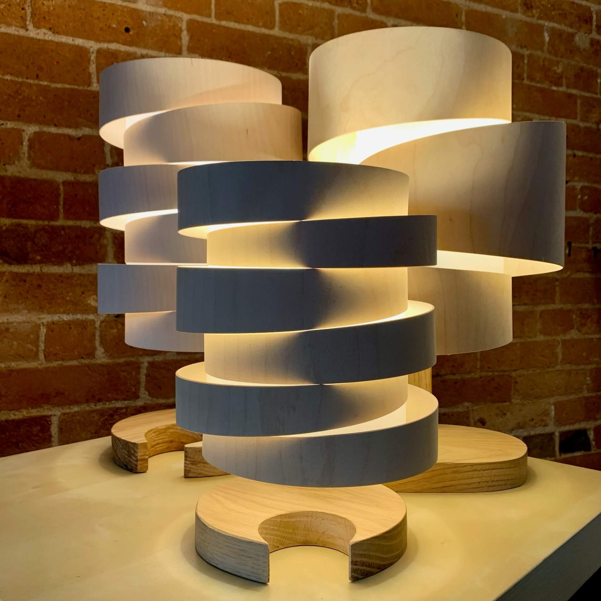 Wooden Table and Floor Lamps by Stuart Lamble
