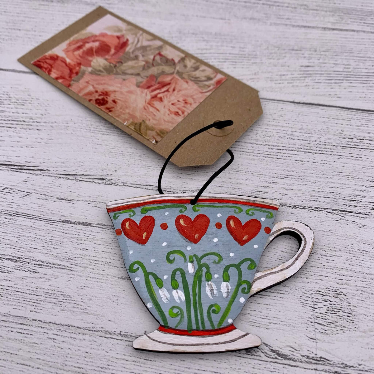 Hand Painted Teacup Decoration - Hearts/Snowdrops