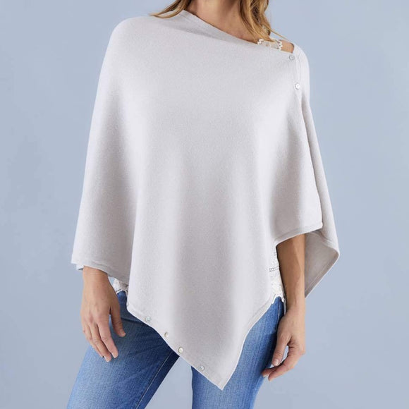 Love Molly - Stone - Wool, Silk & Cashmere Poncho