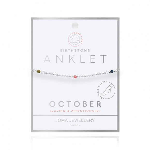 Joma Jewellery Birthstone Anklet - October Tourmaline