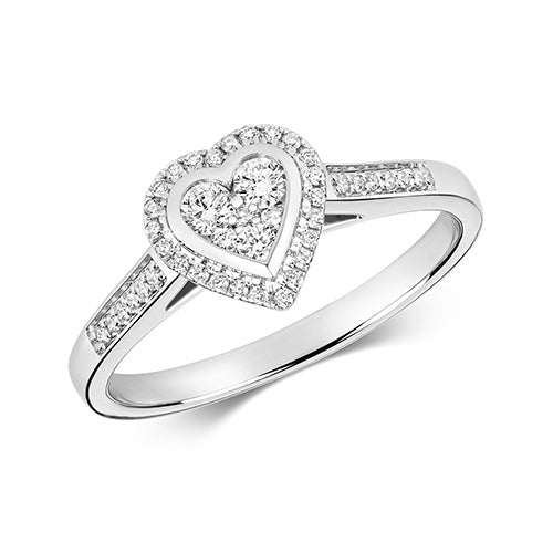 9ct White Gold, Diamond Heart Shaped Engagement Ring
