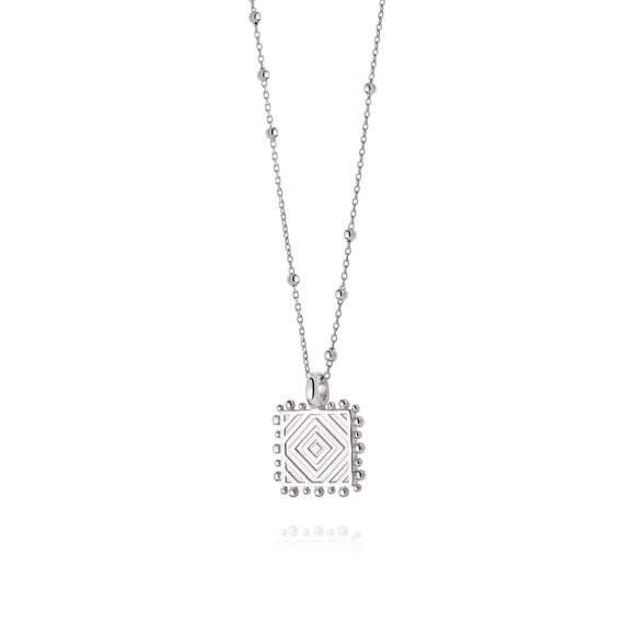 Daisy London Artisan Square Necklace Sterling Silver - Maudes The Jewellers