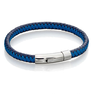 Fred Bennett Gents Leather Bracelet - Navy and Blue