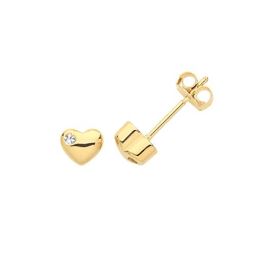9ct Gold Heart Stud Earrings set with Cubic Zirconia - Maudes The Jewellers