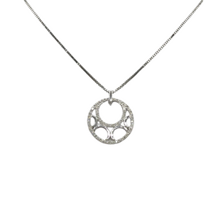 9ct White Gold and Diamond Circle Pendant and Chain