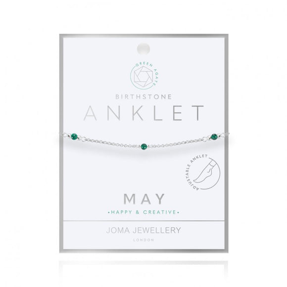 Joma Jewellery Birthstone Anklet - May Green Agate