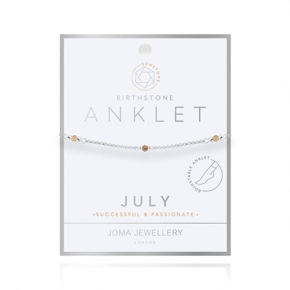 Joma Jewellery Birthstone Anklet - July Sunstone