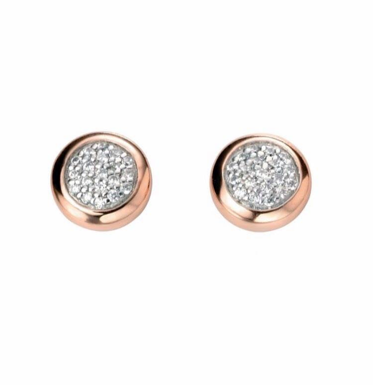Sterling Silver and Rose Gold Plate Pave Stud Earrings - Maudes The Jewellers