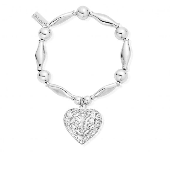 ChloBo Chunky Filigree Heart Bracelet - Silver - Maudes The Jewellers