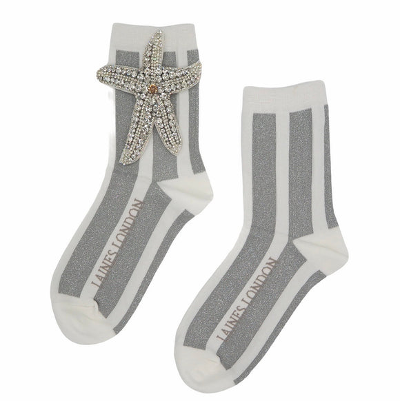 Laines London White & Silver Shimmer Stripe Cotton Socks with Silver Starfish Brooch