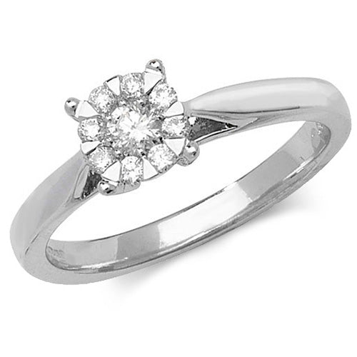 9ct White Gold, Diamond Illusion Solitaire Engagement Ring