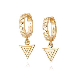 Daisy London Artisan Stamped Drop Huggie Earrings - Maudes The Jewellers