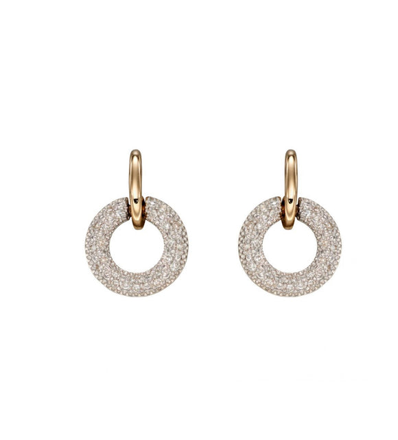 Yellow Gold Donut Diamond Earrings