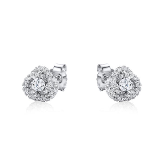 Real Effect Sterling Silver Stud Earrings with Cubic Zirconia