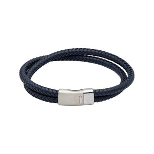 Unique & Co Navy Double Leather Bracelet with Silver Clasp