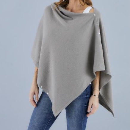Love Molly - Taupe - Wool, Silk & Cashmere Poncho