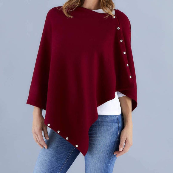 Love Molly - Bordeaux - Wool, Silk & Cashmere Poncho