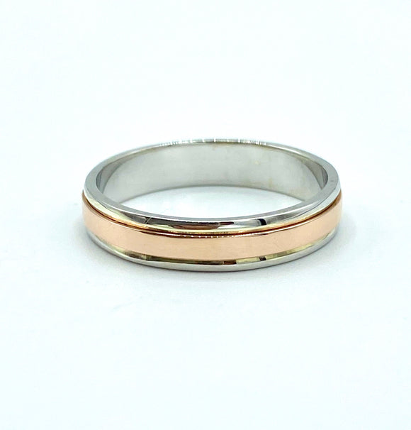 9ct White and Rose Gold Wedding Ring 4mm