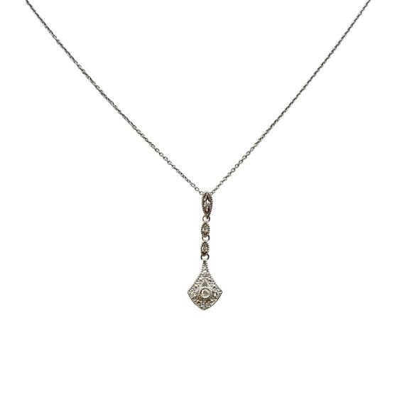 9ct White Gold, Art Deco Style Diamond Pendant and Chain