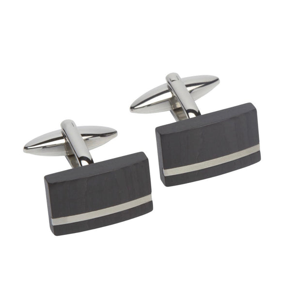 Men's Unique & Co Stainless Steel Cufflinks with Carbon Composite - Maudes The Jewellers