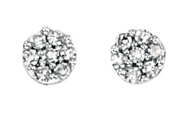 9ct White Gold Diamond Pave Round Stud Earrings
